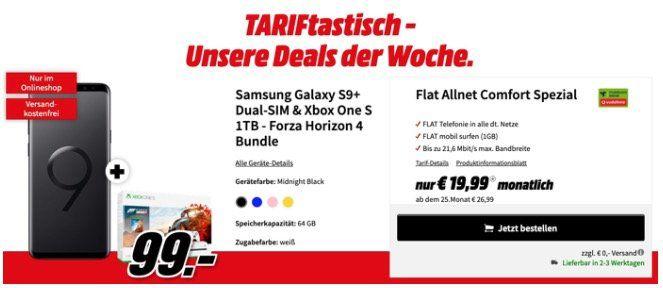 Galaxy S9+ inkl. Xbox One S 1TB Forza Horizon 4 für 99€ + Vodaone Flat mit 1GB ohne LTE für 19,99€ mtl.