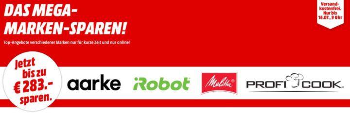 Media Markt Mega Marken Sparen: günstige Artikel von Aarke, iRobot, Melitta und ProfiCook