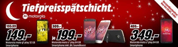 Media Markt Motorola Tiefpreisspätschicht: z.B. Moto G6 play 32 GB  für 149€ (statt 180€)