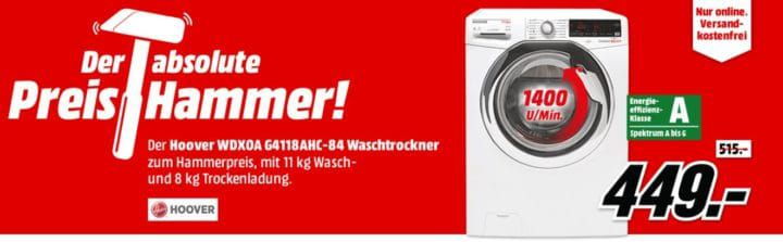 HOOVER WDXOA   11Kg smart Waschtrockner für 449€ (statt 555€)
