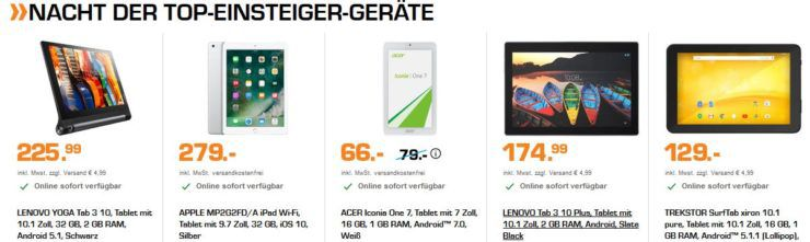 Saturn late night Tablet shopping: z.B. ACER Iconia One 7 für 66€