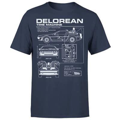 Zurück in die Zukunft Delorian Schematic Shirt in blau für 10,99€ (statt 17€)