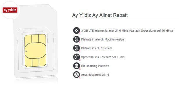Ay Yildiz Ay Allnet für ~8€ mtl   3GB LTE mit Allnet  & Türkei Flat (o2)