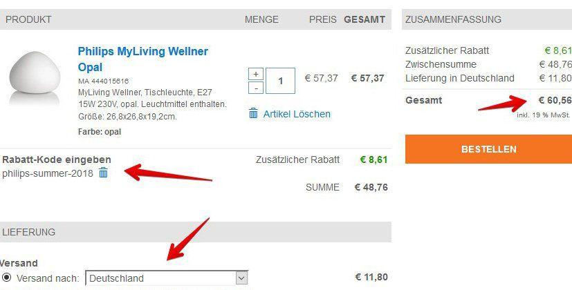 Philips Ecomoods Energiespar Tischleuchte (444025616) für 60,56€ (statt 80€)