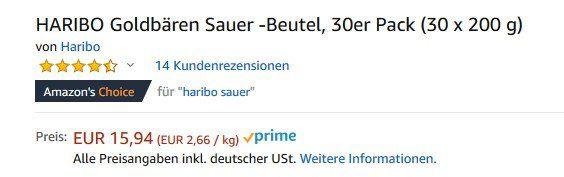 30er Pack Haribo Goldbären Sauer für 15,94€ (statt 26€)