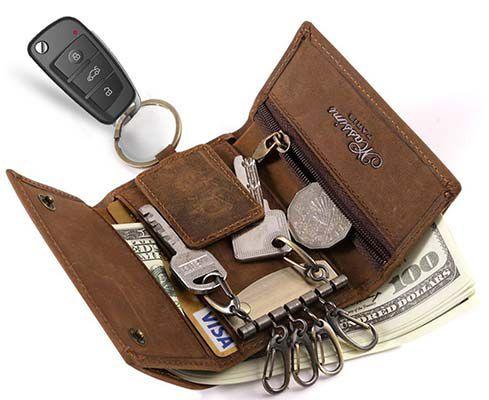 BestFire Schlüsseletui aus Leder mit vielen Taschen für 7,84€ (statt 16€)   Primer