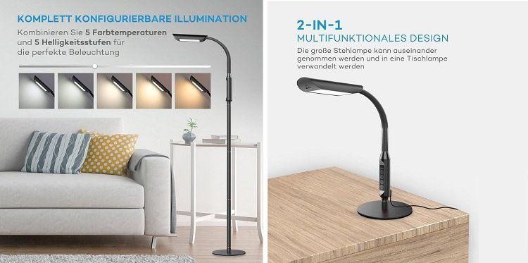 TaoTronics Stehlampe (VA DL31 DE) für 49,99€ (statt 65€)