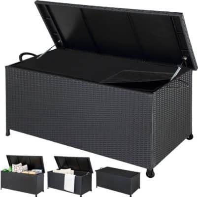 Polyrattan Auflagenbox 122x56x61cm mit Griffen und Rollen ab 67,85€
