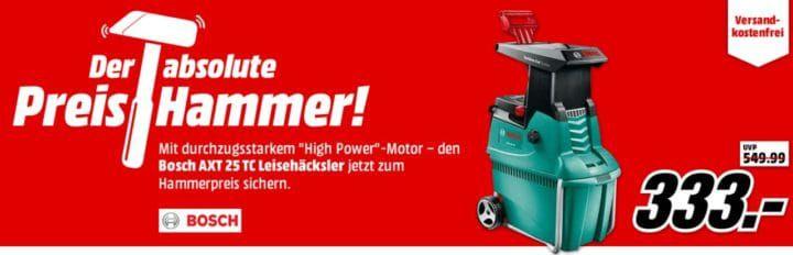 BOSCH AXT 25 TC Leisehäcksler für 333€ (statt 380€)