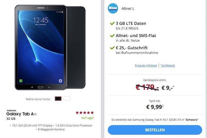 Samsung Galaxy Tab A 10.1 32GB LTE für 9€ + o2 Allnet Flat mit 3GB LTE für 9,99€ mtl.