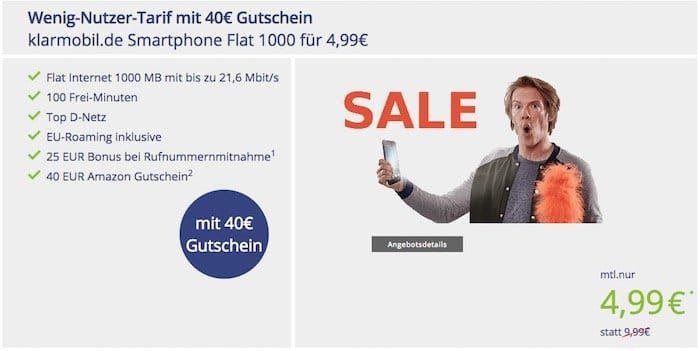 Kleiner Vodafone Tarif mit 100 Min. + 1GB für 4,99€ mtl. + 40€ Amazon Gutschein