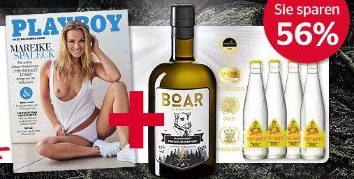 6 Ausgaben Playboy für 37,50€ + BOAR Gin inkl. 4 Flaschen Tonic für 1€ (Wert 36€)