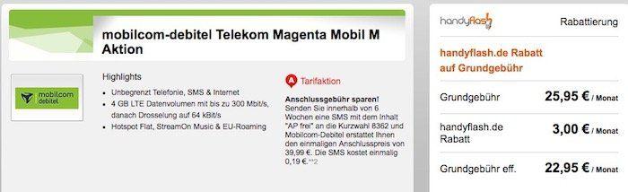 Telekom Magenta Mobil M mit 4GB LTE + StreamOn Music für 22,95€mtl.