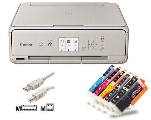 Canon Pixma TS5053 Tintenstrahl Drucker mit 5 kompatiblen Patronen für 52,90€ (statt 74€)