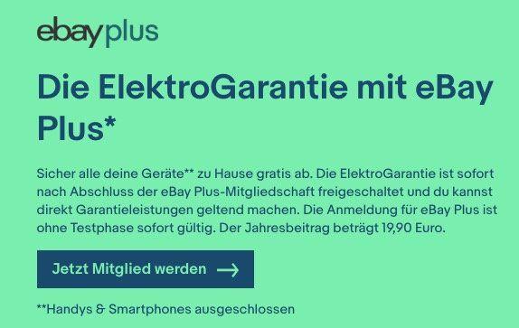 Gratis Elektro Garantie für eBay Plus Mitglieder   auch, wenn es nicht bei eBay gekauft wurde