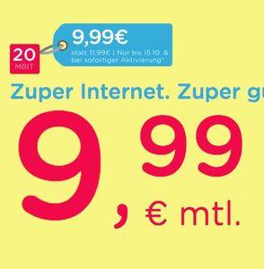 eazy Internet Zugang (Unitymedia) mit 20 Mbit/s für 9,99€ mtl.   oder 50 Mbit/s für 16,99€ mtl.