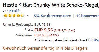 24er Pack Nestle KitKat Chunky White Schoko Riegel ab 9,35€ (statt 15€)