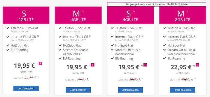 Telekom Magenta Mobil Allnet Flat & SMS Flat mit 4GB LTE + Hotspot ab 19,95€ mtl.