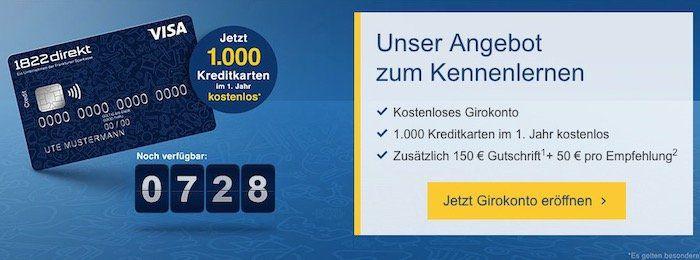 1822direkt kostenloses Girokonto + 150€ Prämie + weitere 50€ für eine Empfehlung + ggf. 1 Jahr kostenlose Visa