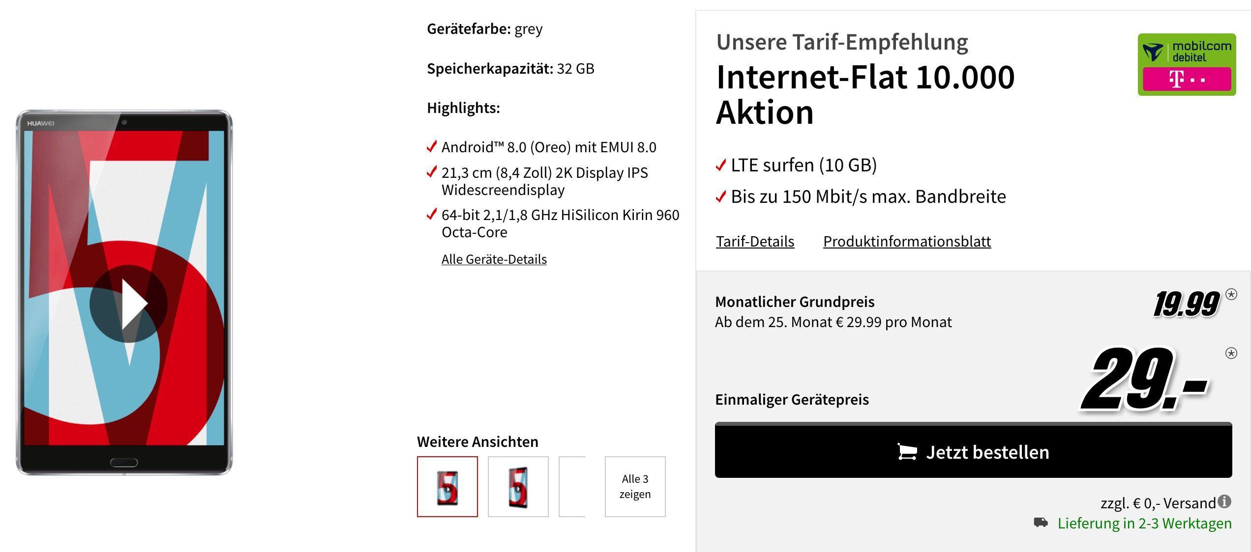 TOP! Huawei MediaPad M5 10,8 Zoll LTE Tablet für 29€ + Telekom 10GB LTE Datentarif für 19,99€ mtl.