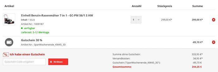 Einhell Benzin Rasenmäher GC PM 56/1 SHW für 244,25€ (statt 334€)