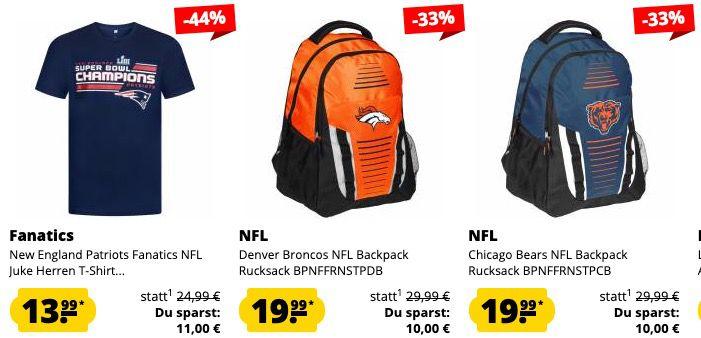 Großer NFL Sale bei SportSpar   z.B. Patriots Fanatics NFL T Shirt für 13,99€