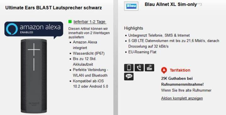o2 Tarif von Blau.de mit 300 Einheiten + 2GB LTE für 7,99€ mtl. + UE Blast Lautsprecher nur 1€