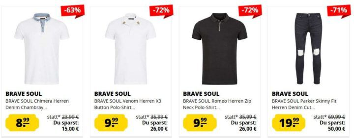 SportSpar Brave Soul Summer Sale   z.B. Bratby Rip Denim Herren Jeans ab 15,99€ (statt 20€)