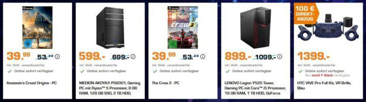 Saturn Gamescom Woche heute z.B.: HTC VIVE Pro Headset Virtaul Reality System für 779€ (statt 897€)