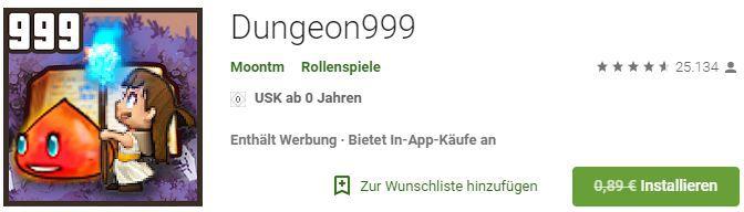 Dungeon999 (Android) gratis statt 0,89€