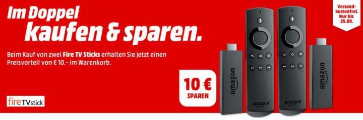 Doppelpack: KINDLE Fire TV Streaming Stick mit Alexa Sprachfernbedienung für 69,98 (statt 85€)