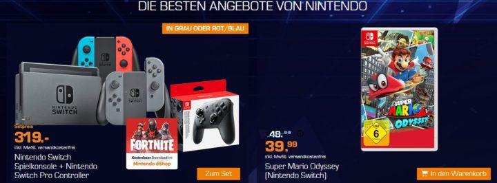 Saturn Gamescom Woche heute z.B.: Nintendo Switch + FORTNITE + Pro Controller für 319€ (statt 355€)