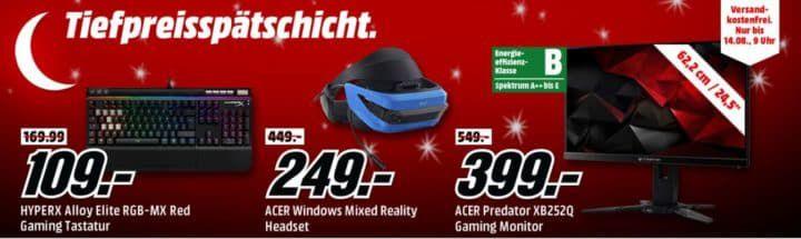 Media Markt Gaming Tiefpreisspätschicht: z.B. HYPERX Alloy Elite RGB MX mech. Gaming Tastatur für 109€ (statt 169€)