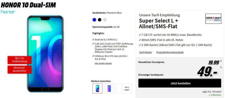 Honor 10   Dual SIM 64 GB Phone für 49€ (statt 339€) + O2 AllNet & SMS Flat + 7 GB LTE + 2. SIM für 19,99€ mtl.
