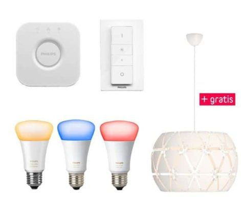 TOP! Philips hue White & Color Ambiance Starter Set: 3 x E27 + Bridge + Philips myLiving Pendelleuchte für 164,95€ (statt 248€)