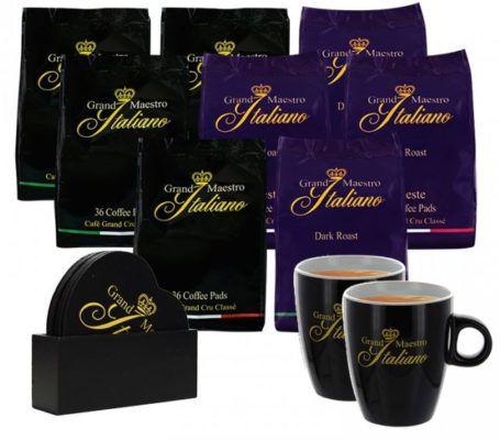 Grand Maestro Italiano Probierpaket mit 280 Senseo Pads + 2 Tassen + Untersetzer Set für 31,14€