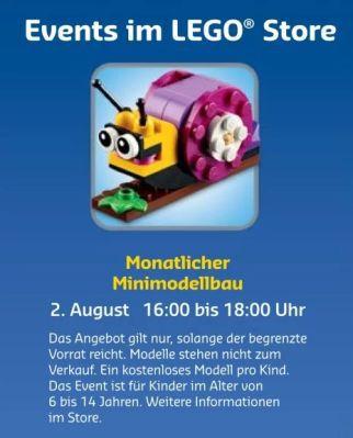 Gratis Lego Mini Bauaktion August – nur am 02.08 in teilnehmenden Lego Stores