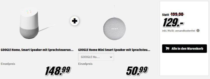 Media Markt smart Home Preishammer: z.B. Google Home + Google Home Mini für 129€ (statt 142€)