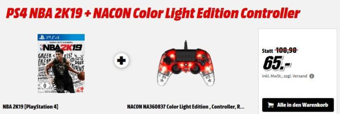 PS4 NBA 2K19 Game + NACON Color Light Edition Controller für 65€ (statt101€) uvm. im Media Markt Dienstag Sale