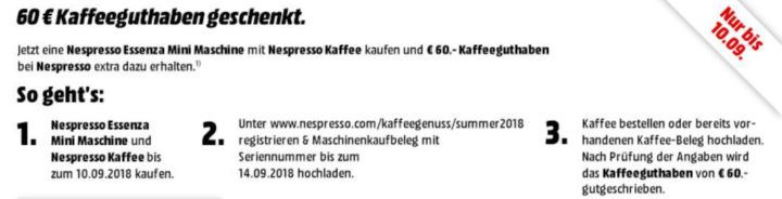 TOP! DELONGHI Nespresso EN 85.W Essenza Mini Nespresso Kapselmaschine für 49€ (statt 70€) + 60€ Kapselgutschein