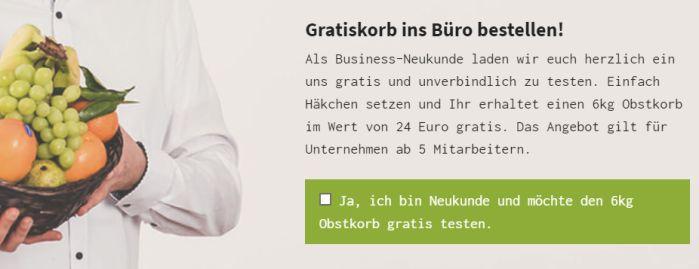 6 kg Obstkorb (Wert 24€) gratis in die Arbeit bestellen   nur für Neukunden