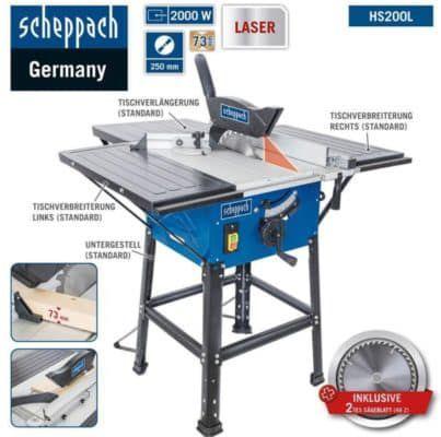 Scheppach HS200L   Tischkreissäge mit Laser, Tischverbreiterungen, 2000W für 107,91€ (statt 126€)