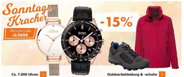 Karstadt Sonntags Kracher mit 15% Rabatt auf Uhren, Outdoorbekleidung & Schuhe, Sneaker uvam.