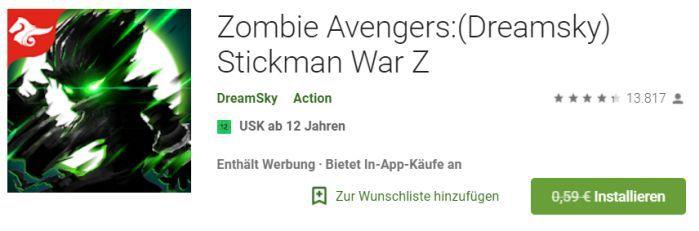 Zombie Avengers: (Dreamsky) Stickman War Z (Android) gratis statt 0,59€