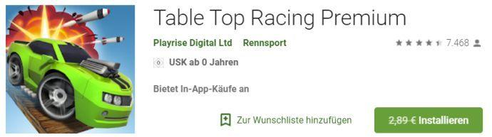 Table Top Racing Premium (Android) gratis statt 2,89€