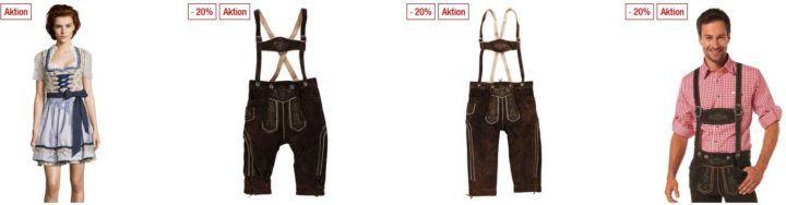 Galeria Kaufhof Dienstag Angebote: heute 20% Rabatt auf ausgewählte Trachten für Damen, Herren & Kinder