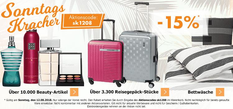 Karstadt Sonntags Kracher mit 15% Rabatt auf Beautyartikel, Reisegepäck & Bettwäsche, uvm.