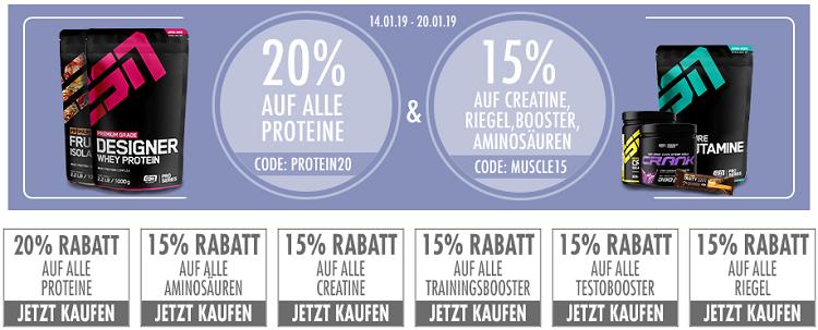 20% Rabatt auf ESN Proteine + 15% Rabatt auf Aminossäuren, Booster, Riegel und Creatine