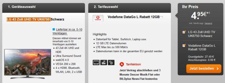 Vodafone Data Go L mit 12GB LTE (bis 500 Mbit/s) für 27,49€ mtl. + LG UK6750   43 Zoll UHD TV für 4,95€