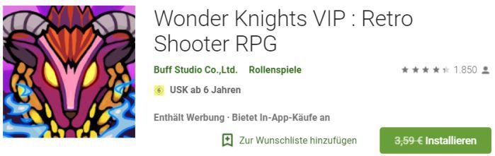 Wonder Knights VIP : Retro Shooter RPG (Android) gratis statt 3,59€